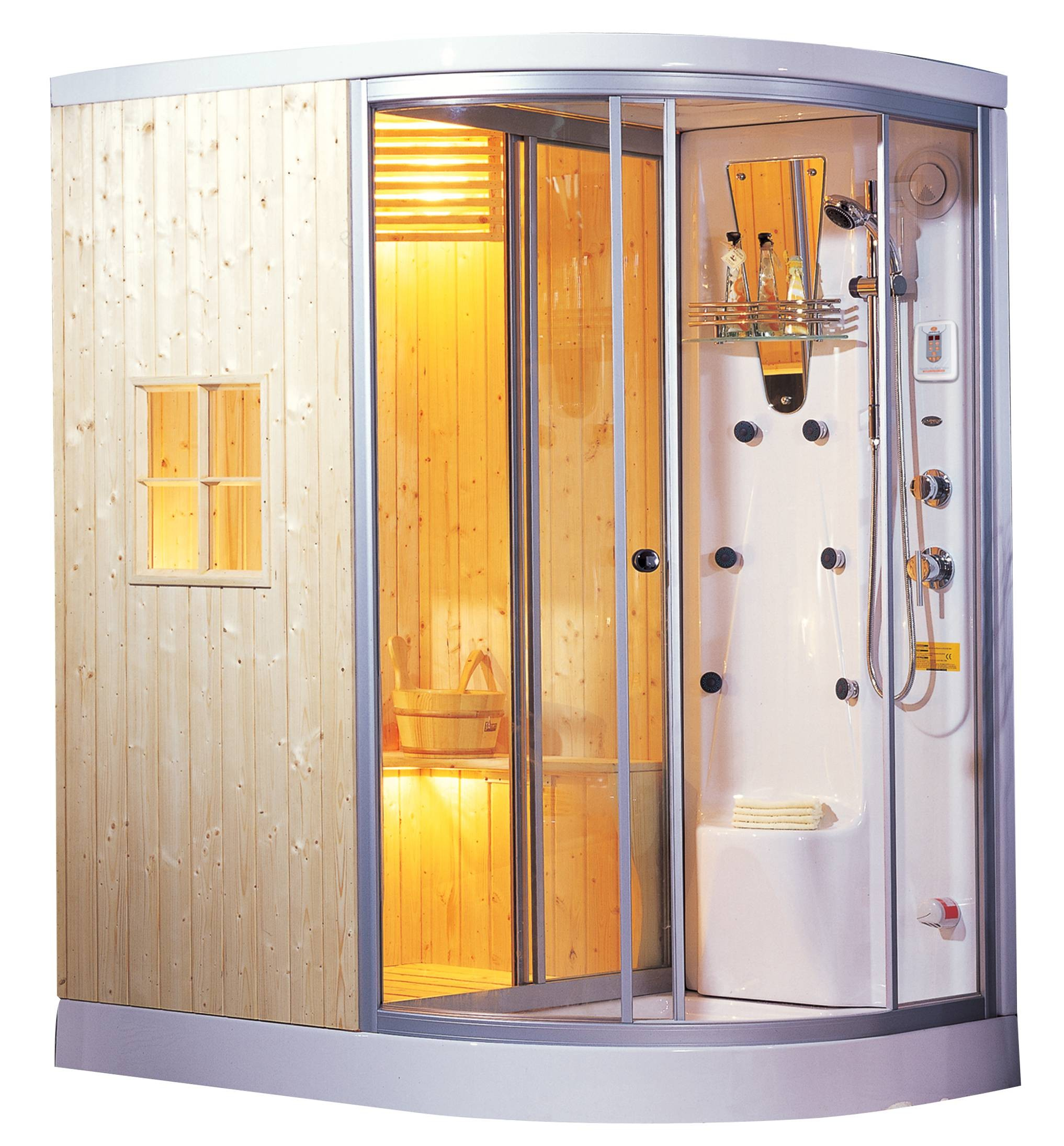 Cabina de sauna y vapor madera natural sellada ag 0201 - Productos para sauna ...