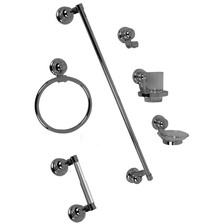 Juego Accesorios De Baño:Juego de accesorios Asia para empotrar en acabado cromo – J50-CC – Kit