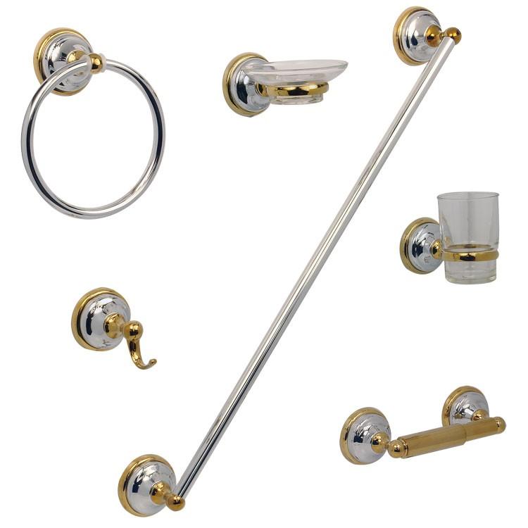 Accesorios De Baño Helvex:Juego de accesorios Capri para empotrar en acabado cromo dorado – JE