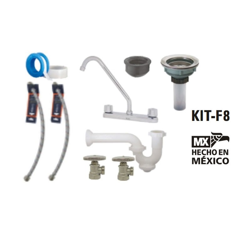 Kit Griferia Para Baño:Kit de instalación para mezcladora de fregadero – KIT-F8 – Kit para
