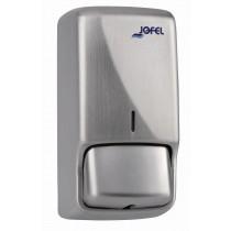 Dispensador de jabon de espuma en acero inoxidable, color inoxidable satinado, dimensiones en milimetros: Alto - 230; Largo - 108; Ancho - 110. Capacidad de 800 ml / 27.05 oz.