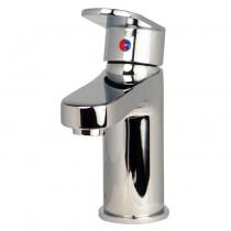 Mezcladora monomando para lavabo al piso, con desagüe automático, línea ZAFIRO, en acabado CROMO (Z100) o SATIN (Z100S), segun especifique el cliente.