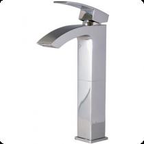 Mezcladora monomando para lavabo al piso, alta, con desagüe automático, en acabado CROMO (O110) o SATÍN (O110S) según lo solicite el cliente. Línea Ónix.