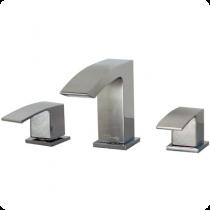 """Mezcladora de manerales con taladros separados para lavabo al piso de 8"""" a 12"""", con desagüe automático, línea ÓNIX, en acabado CROMO (O120) o SATIN (O120S), segun especifique el cliente."""