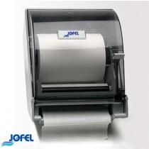 Despachador de toalla en rollo con palanca altera, color transparente y con base gris.